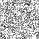 Seamless black and white background. Floral, ethnic, hand drawn elements for design. Royalty Free Stock Photography