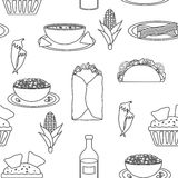 Seamless black-white background with mexican food Stock Photos