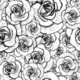 Seamless black and white background with roses Royalty Free Stock Photo