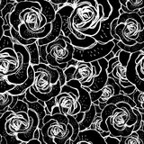 Seamless black and white background with roses Royalty Free Stock Images