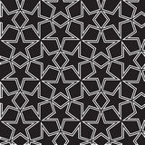 Seamless black and white background with stars. Is   monochrome illustration in arabic style. May be useful for print, fabric, wrapping, packing, tapestry Stock Photos