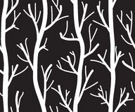 Seamless black and white background with trees Royalty Free Stock Photos