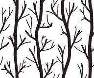 Seamless black and white background with trees Royalty Free Stock Photography