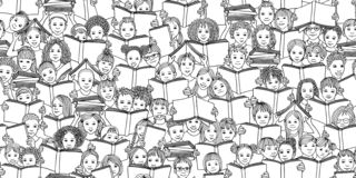 Seamless black and white banner of children reading books stock photos