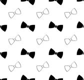 Seamless black and white bow tie pattern Stock Images