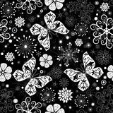Seamless black-white christmas graphic pattern Stock Photo