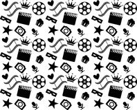 Seamless black and white cinema pattern Royalty Free Stock Images