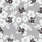 Seamless black and white color of cute flower pattern Stock Image