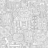 Seamless black and white decorative pattern for coloring book. Endless ornament Royalty Free Stock Image