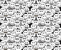 Seamless black and white doodle pattern with fun positive emoticon expressions. Smile, wink, angel, surprised, in love, laugh smileys included Royalty Free Stock Photography
