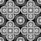 Seamless black and white floral pattern. Royalty Free Stock Photo
