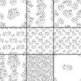 Seamless black and white floral pattern Stock Photography