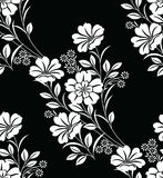 Seamless black and white floral pattern. For textile fabrics and cloth Stock Photo