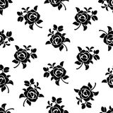 Seamless black and white floral pattern. Vector illustration. Stock Photos