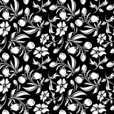 Seamless black and white floral pattern. Vector illustration. Stock Images
