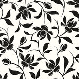 Seamless black and white floral pattern. Vector illustration. Royalty Free Stock Photo