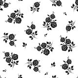 Seamless black and white floral pattern. Vector illustration. Royalty Free Stock Photos