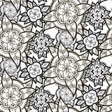 Seamless Black and White Flower Pattern Royalty Free Stock Images