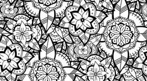 Seamless Black and White Flower Pattern Stock Photos