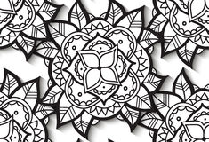 Seamless Black and White Flower Pattern Royalty Free Stock Image