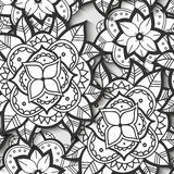 Seamless Black and White Flower Pattern Stock Images