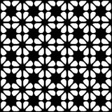 Seamless black and white geometric background with floral elements Stock Photos