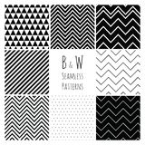 Seamless Black and White geometric background set. Stock Image
