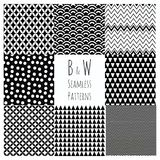 Seamless Black and White geometric background set. Stock Images