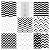 Seamless Black and White Geometric Background Set. Set of Nine Black and White Abstract Geometric Zigzag Seamless Patterns. with Pattern Swatches. Transparent Stock Photo