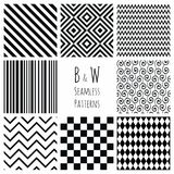 Seamless Black and White geometric background set. Stock Photography