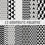 Seamless Black and White Geometric Background Set. Royalty Free Stock Photography