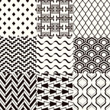 Seamless black and white geometric mesh background. Set vector illustration