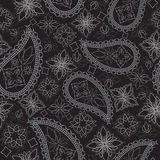 Seamless black and white geometric pattern with paisley and flowers. Vector print . Royalty Free Stock Photo