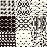 Seamless black and white geometric pattern Stock Photos