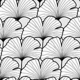 Seamless black and white gingko leaf pattern. Vector illustratio Stock Photos