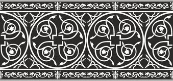 Seamless black-and-white gothic floral border. Seamless black-and-white medieval gothic floral texture with fleur-de-lis Royalty Free Stock Images