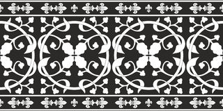 Seamless black-and-white gothic floral pattern Stock Photography