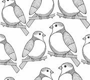 Seamless black and white graphic with cute birds. Stock Photos