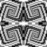 Seamless Black, White and Grey Spirals of the Rectangles Expanding from the Center. Optical Illusion of Perspective. Vector Illustration. Seamless Black, White Stock Image