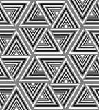 Seamless Black, White and Grey Striped Triangle Pattern. Visual Volume Effect.   Stock Photos