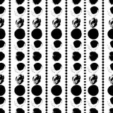 Seamless black and white hand drawn pattern. Vector seamless pattern. Black circles on white background. Grungy abstract hand drawn illustration. Textile print Stock Image