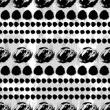 Seamless black and white hand drawn pattern. Vector seamless pattern. Black circles on white background. Grungy abstract hand drawn wallpaper Vector Illustration