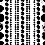 Seamless black and white hand drawn pattern. Vector seamless pattern. Black and white round brush strokes. Grungy hand drawn abstract lines made of circles Vector Illustration