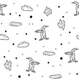 Seamless black and white kids tribal vector pattern with penguins and ice floes. Royalty Free Stock Photos
