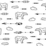 Seamless black and white kids tribal vector pattern with polar bears and arrows. Royalty Free Stock Photos