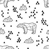 Seamless black and white kids tribal vector pattern with polar bears and triangles. Stock Photography