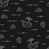 Seamless black and white kids tribal vector pattern with whales and arrows. Stock Photos