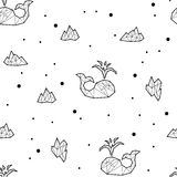 Seamless black and white kids tribal vector pattern with whales and ice floes. Royalty Free Stock Photos
