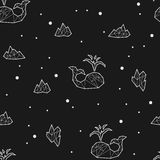 Seamless black and white kids tribal vector pattern with whales and ice floes. Royalty Free Stock Photo