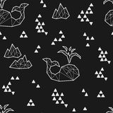 Seamless black and white kids tribal vector pattern with whales and triangles. Stock Photo